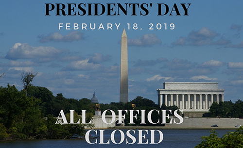 Presidents' Day Offices Closed