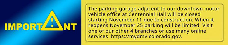 Garage next to Centennial Hall closes November 11, reopens November 25 with limited parking.