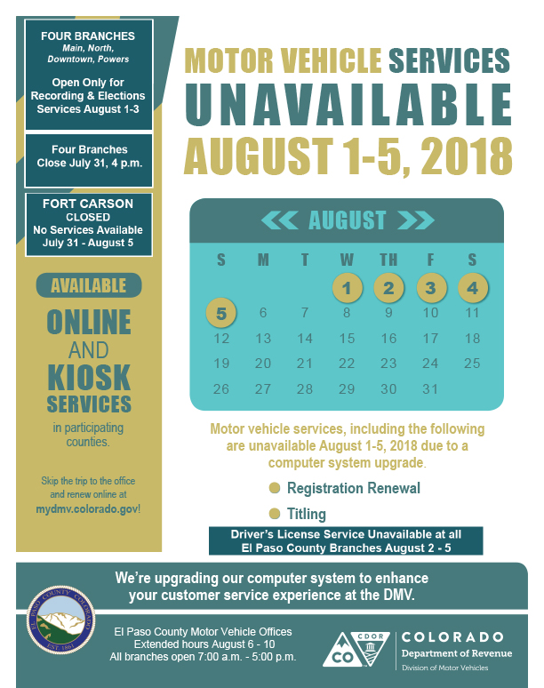 Motor Vehicle Services Unavailable August 1-5, 2018